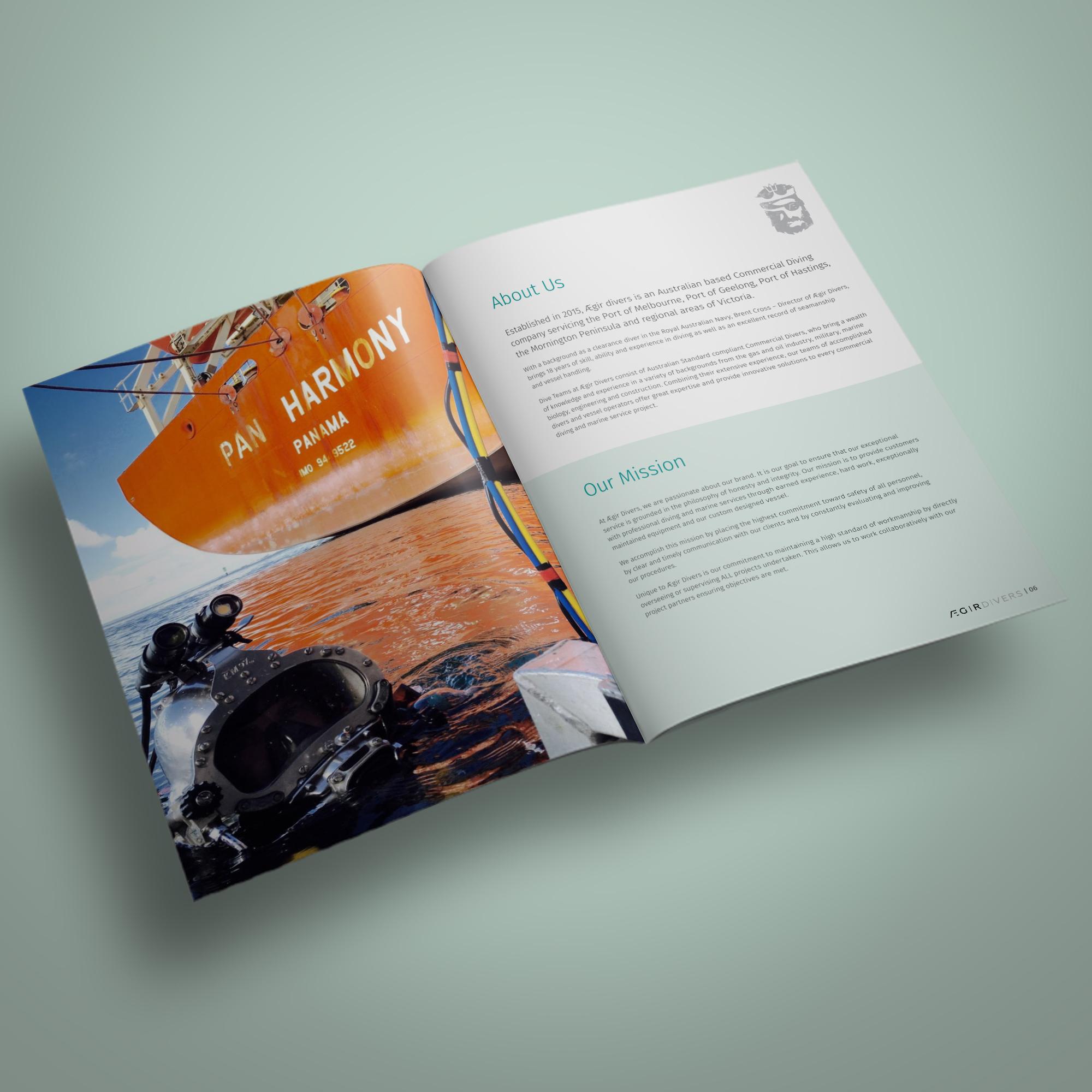 Capability statement design for Aegir Divers