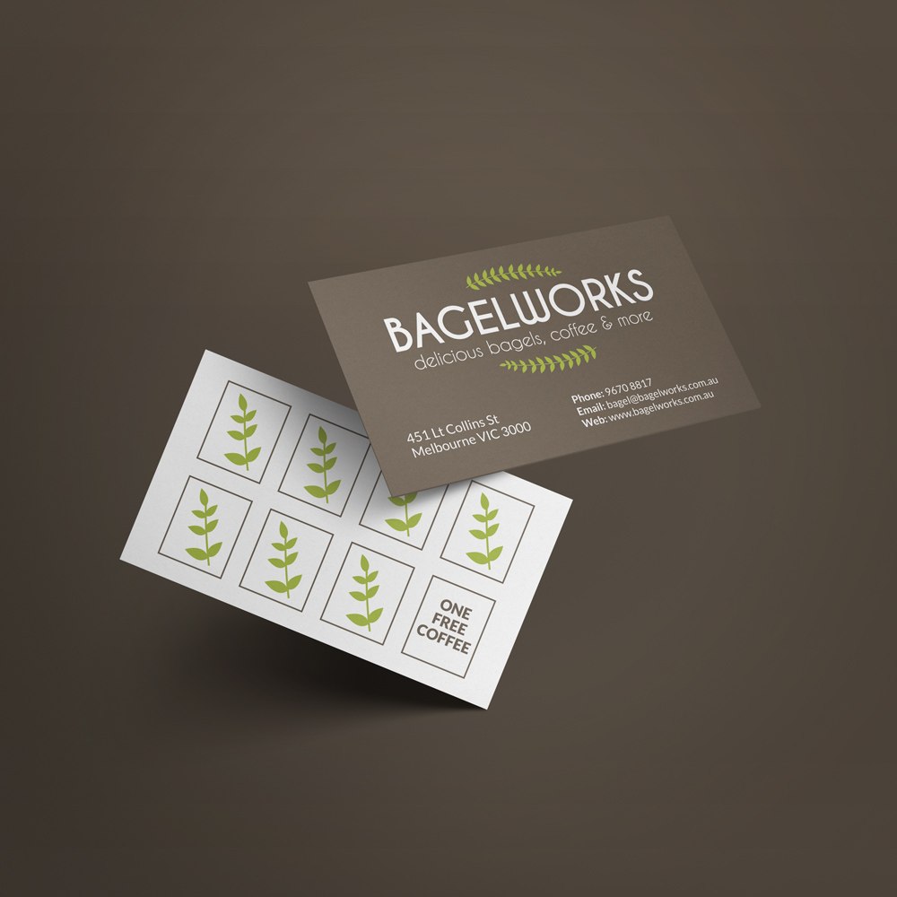 Bagelworks Business Card and Coffee Loyalty Card Design