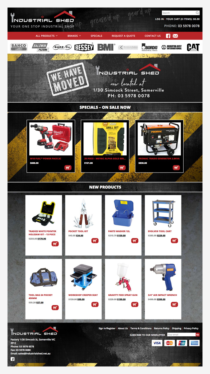 eCommerce website for Industrial Shed