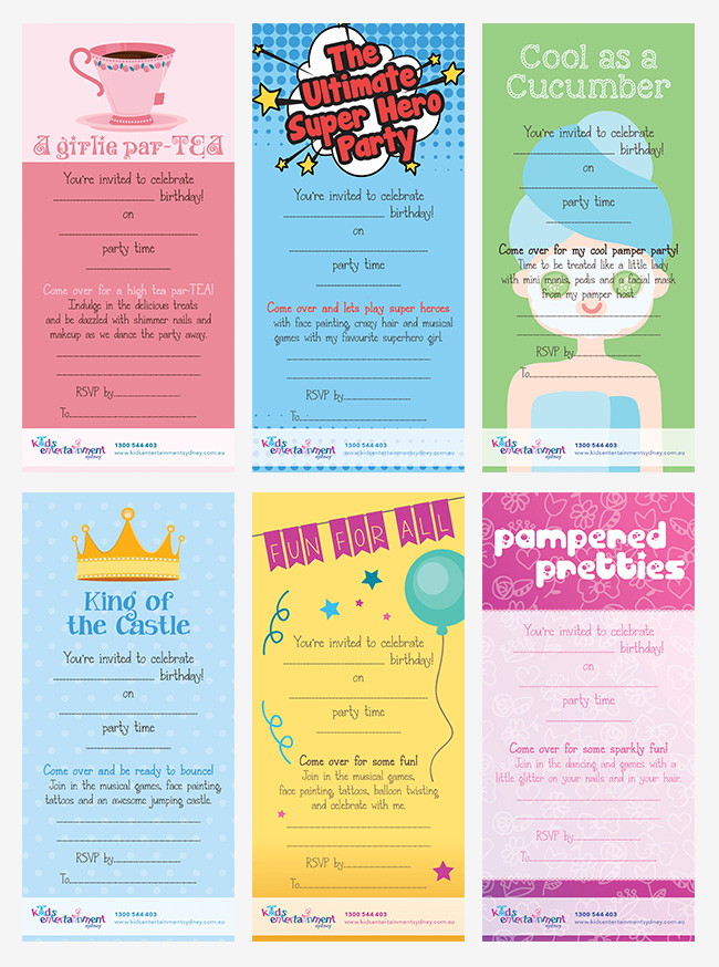 Invitation designs for Kids Entertainment Sydney