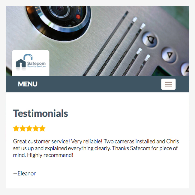 Testimonials page – website design