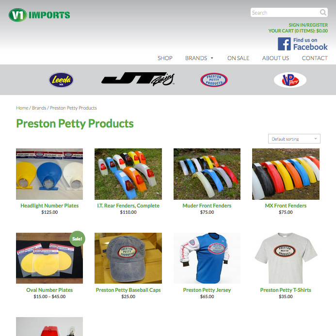 Online store design for V1 Imports